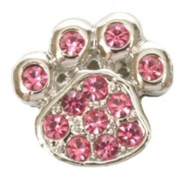 Paw Print Charm - Pink (10mm)
