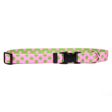 Pink and Green Polka Dot Dog Collar