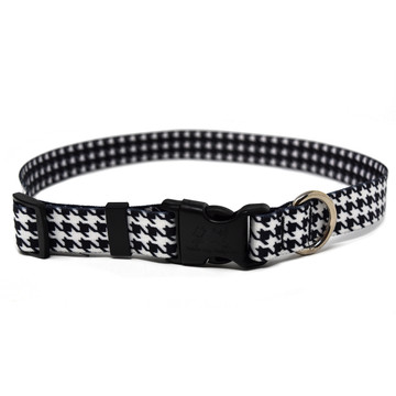 Houndstooth White and Black Dog Collar