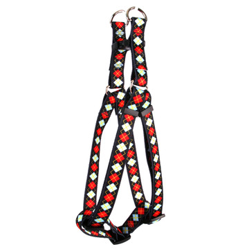 Red Argyle Step-In Dog Harness