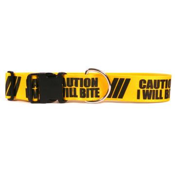 2 Inch - Caution I Will Bite Dog Collar