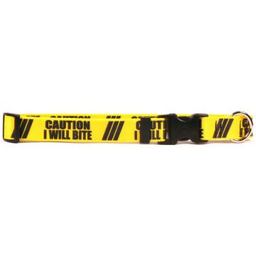 1 Inch - Caution I Will Bite Dog Collar