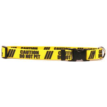 1 Inch - Caution Do Not Pet Dog Collar