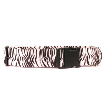 2 Inch Wide Black Zebra Dog Collar