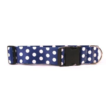 2 Inch Wide Navy Polka Dot Dog Collar