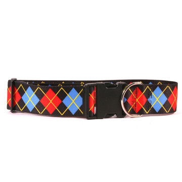 2 Inch Wide Red Argyle Dog Collar