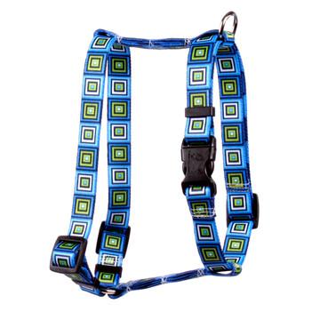 "Blue Blocks Roman Style ""H"" Dog Harness"