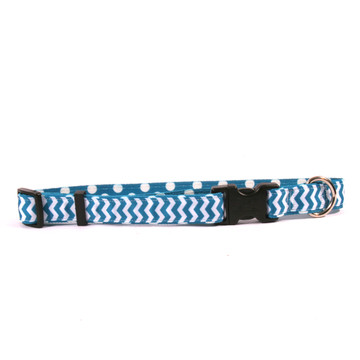 Blueberry Chevron on Polka Grosgrain Ribbon Collar