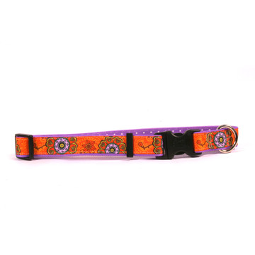 Folk Flowers on Purple Polka Grosgrain Ribbon Collar