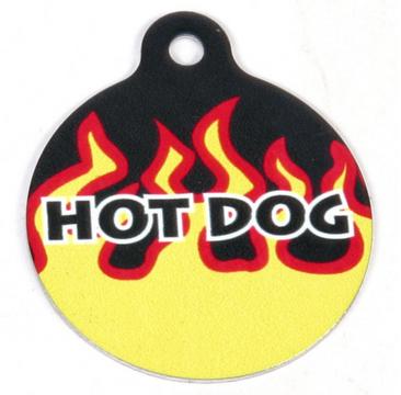Red Flames HD Dog ID Tag