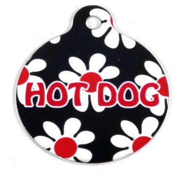 Black Daisy HD Dog ID Tag