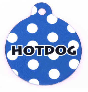 Navy Blue Polka Dot HD Dog ID Tag