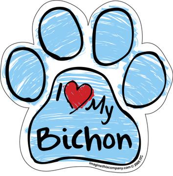 I Love My Bichon BLUE Scribble Paw Magnet