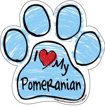 I Love My Pomeranian BLUE Scribble Paw Magnet