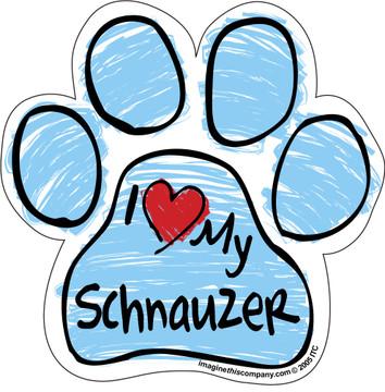 I Love My Schnauzer BLUE Scribble Paw Magnet
