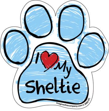 I Love My Sheltie BLUE Scribble Paw Magnet