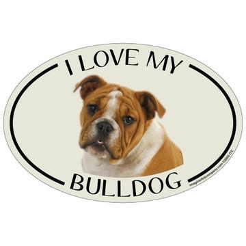 I Love My Bulldog Colorful Oval Magnet