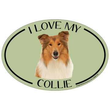 I Love My Collie Colorful Oval Magnet