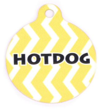 Lemon Chevron Stripe HD Dog ID Tag