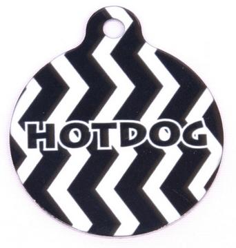 Licorice Chevron Stripe HD Dog ID Tag