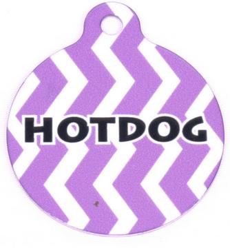 Grape Chevron Stripe HD Pet ID Tag