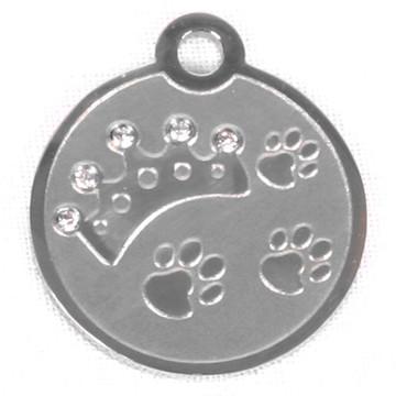 Swarovski Crystal Crown And Paw Stainless Steel Pet ID Tag