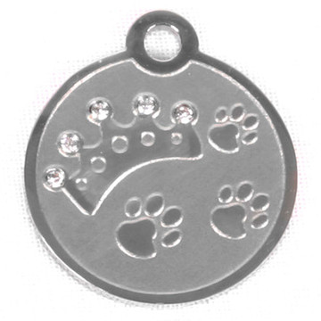 Swarovski Crystal Crown And Paw Stainless Steel Pet ID Tag