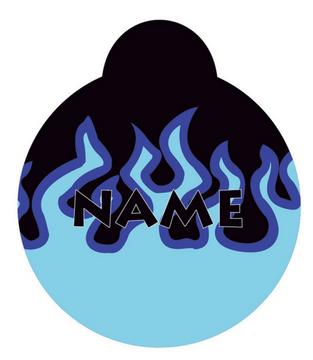 Blue Flames HD Dog ID Tag