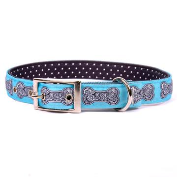 Bella Bone Blue Uptown Dog Collar