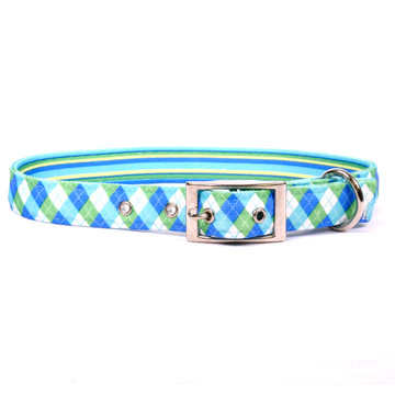 Blue and Green Argyle Uptown Dog Collar