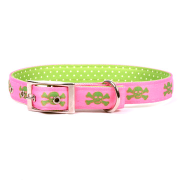 Pink and Green Skulls Uptown Dog Collar