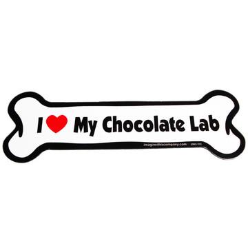 I Love My Chocolate Lab Bone Magnet