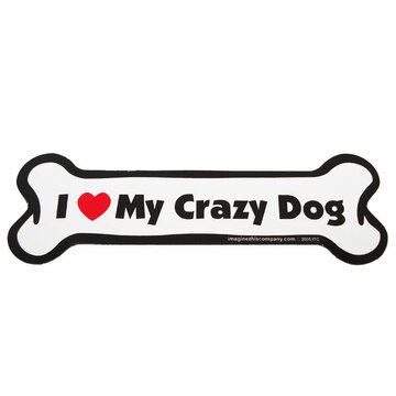 I Love My Crazy Dog Bone Magnet
