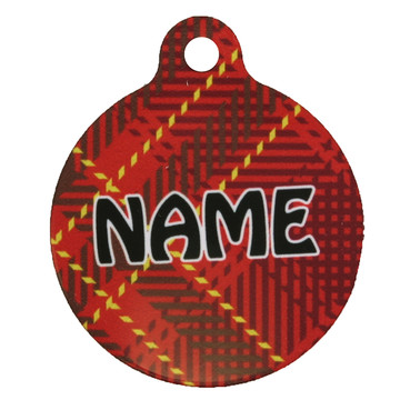 Red Kilt Plaid HD Pet ID Tag