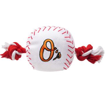 Baltimore Orioles Nylon Rope Baseball Squeaker  Dog Toy