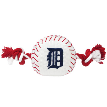 Detroit Tigers Nylon Rope Baseball Squeaker  Dog Toy