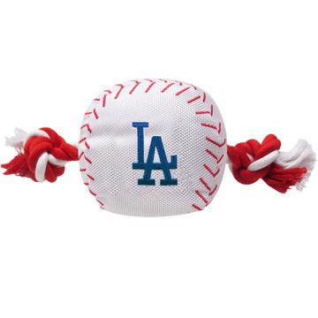 Los Angeles Dodgers Nylon Rope Baseball Squeaker  Dog Toy