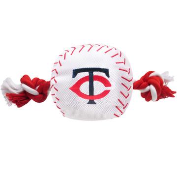 Minnesota Twins Nylon Rope Baseball Squeaker  Dog Toy