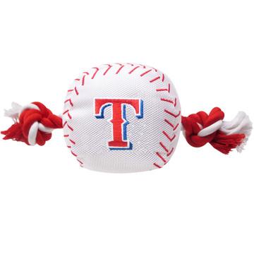 Texas Rangers Nylon Rope Baseball Squeaker  Dog Toy