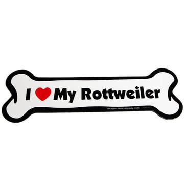 I Love My Rottweiler Bone Magnet
