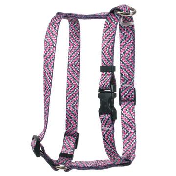 Pink Tweed Roman Style H Dog Harness