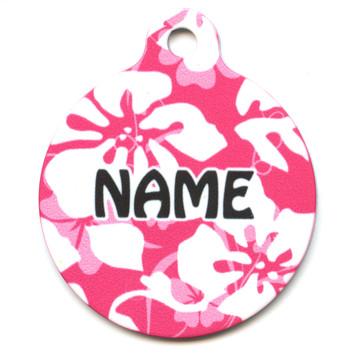 Island Floral Pink HD Pet ID Tag
