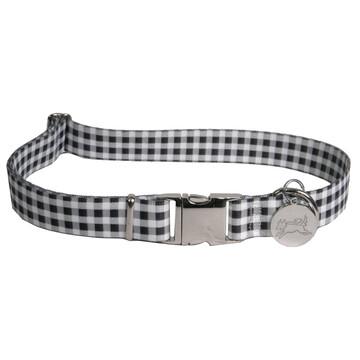 Southern Dawg Gingham Black Premium Dog Collar