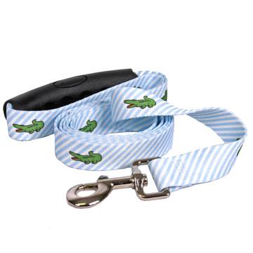 Southern Dawg Seersucker Blue with Alligators Premium Dog Leash