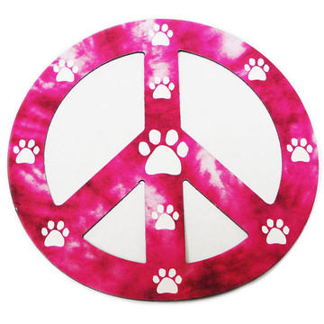 Pink Peace Sign Paw Magnet