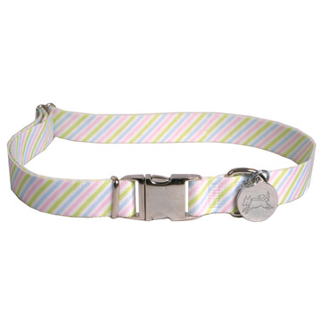 Southern Dawg Seersucker Pink and Blue and Green Premium Dog Collar