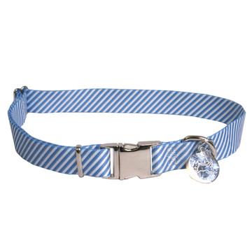 Southern Dawg Seersucker Navy Blue Premium Dog Collar