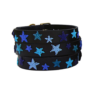 Limited Edition Indigo Stars Beaded Kenyan Dog Collar