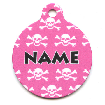 Pink Skulls HD Pet ID Tag