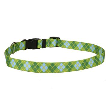 Argyle Lime Dog Collar with Tag-A-Long